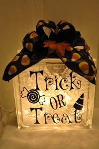 Glass block with vinyl lettering art craft-trick or treat