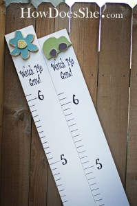 HowDoesShe.com craft project with wood board growth chart with vinyl lettering art