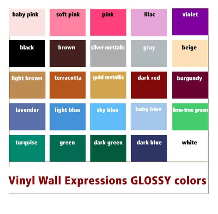 Glossy Vinyl Lettering colors list