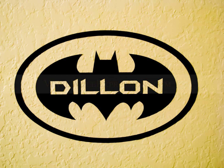 batman symbol wall decor with custom name vinyl wall expressions