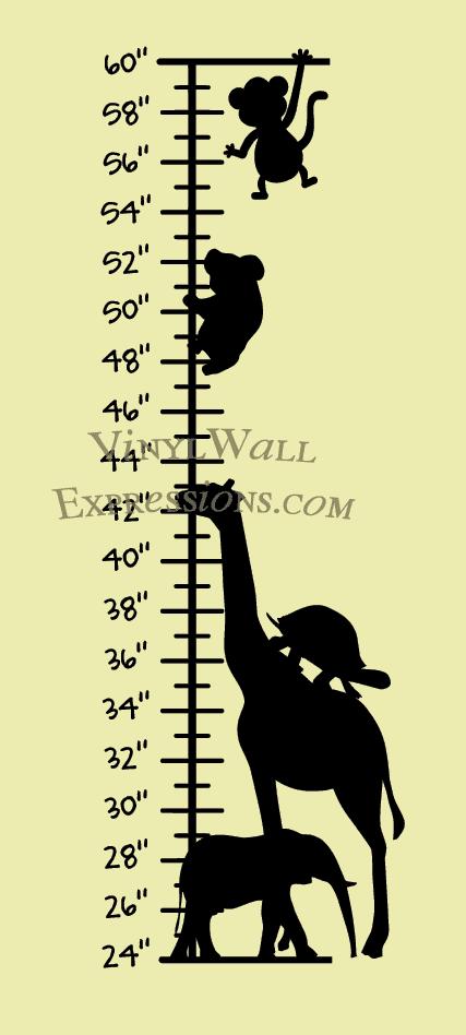 vinyl wall art growth-chart-animal-vwe-Custom Vinyl Wall Expressions