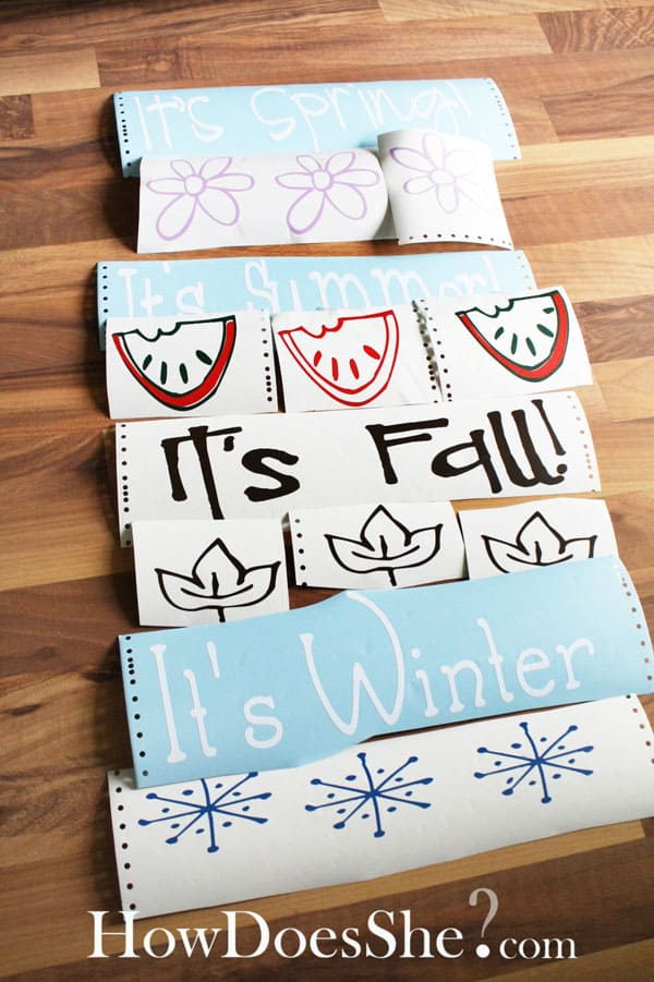 fall winter spring summer vinyl wall letters and art