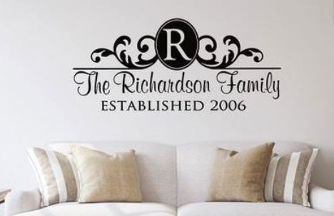 Custom Family Name Wall Vinyl with Ornament Design
