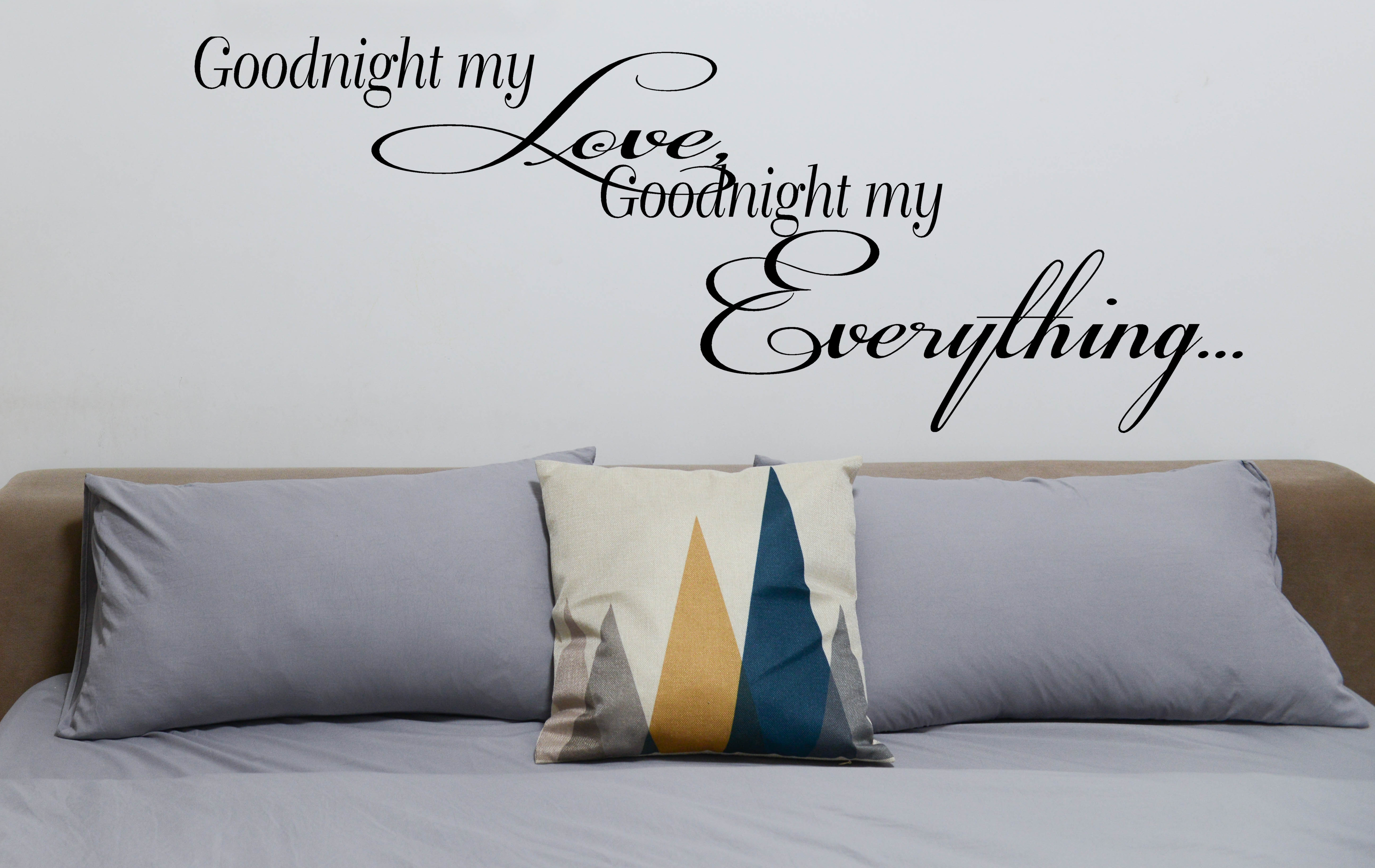 goodnight my love goodnight my everything wall decal with custom color choice vinyl lettering for walls romantic wall quote rr 106vinyl wall expressions