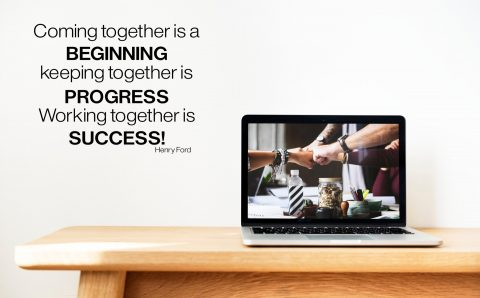 Coming together is a beginning Henry Ford Success Wall Quote Motivational Vinyl Wall Lettering Office Letters For Walls Decal-M-126