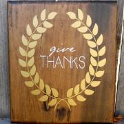 "Thanksgiving vinly art-golden wreath, ""give thanks"""
