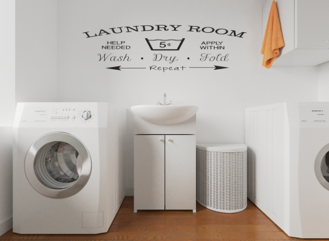 Laundry Vinyl Lettering-Custom Vinyl Wall Expressions