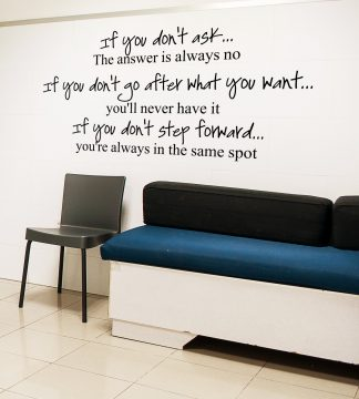 If You Don't Ask, the Answer is always No, Motivational Wall Decal Wall Quote Vinyl Wall Lettering-M-103