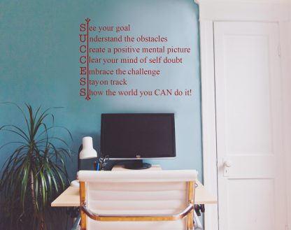 SUCCESS Motivational Classroom School Office Wall Decal Wall Quote Vinyl Wall Lettering- M-137