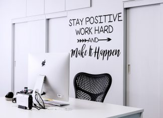 Stay Positive Work Hard and Make it Happen Wall Quote Motivational Classroom Wall Decal Vinyl Wall Lettering-M-104