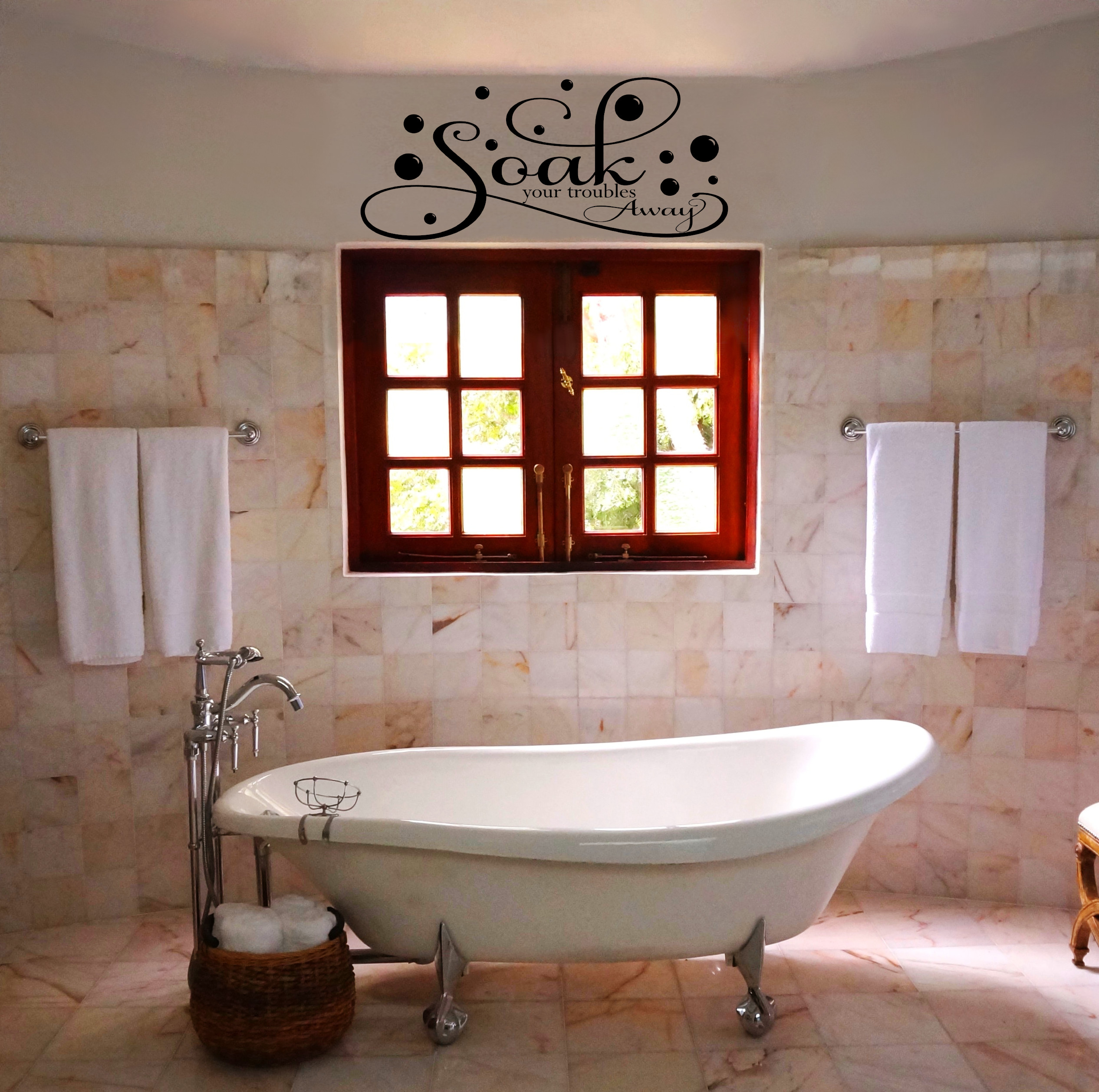 Soak your troubles away Relaxation Bathroom Wall Decal Wall Quote Vinyl Wall Lettering -B105•Vinyl Wall Expressions