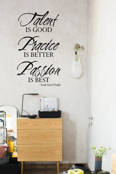 Talent Is good Practice Is better Passion Is best