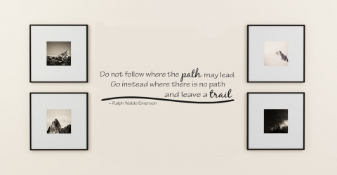 Do Not Follow Where The Path May Lead.  Emerson Wall Quote Wall Decal With Custom Color Choice Vinyl Lettering For Walls-M-129