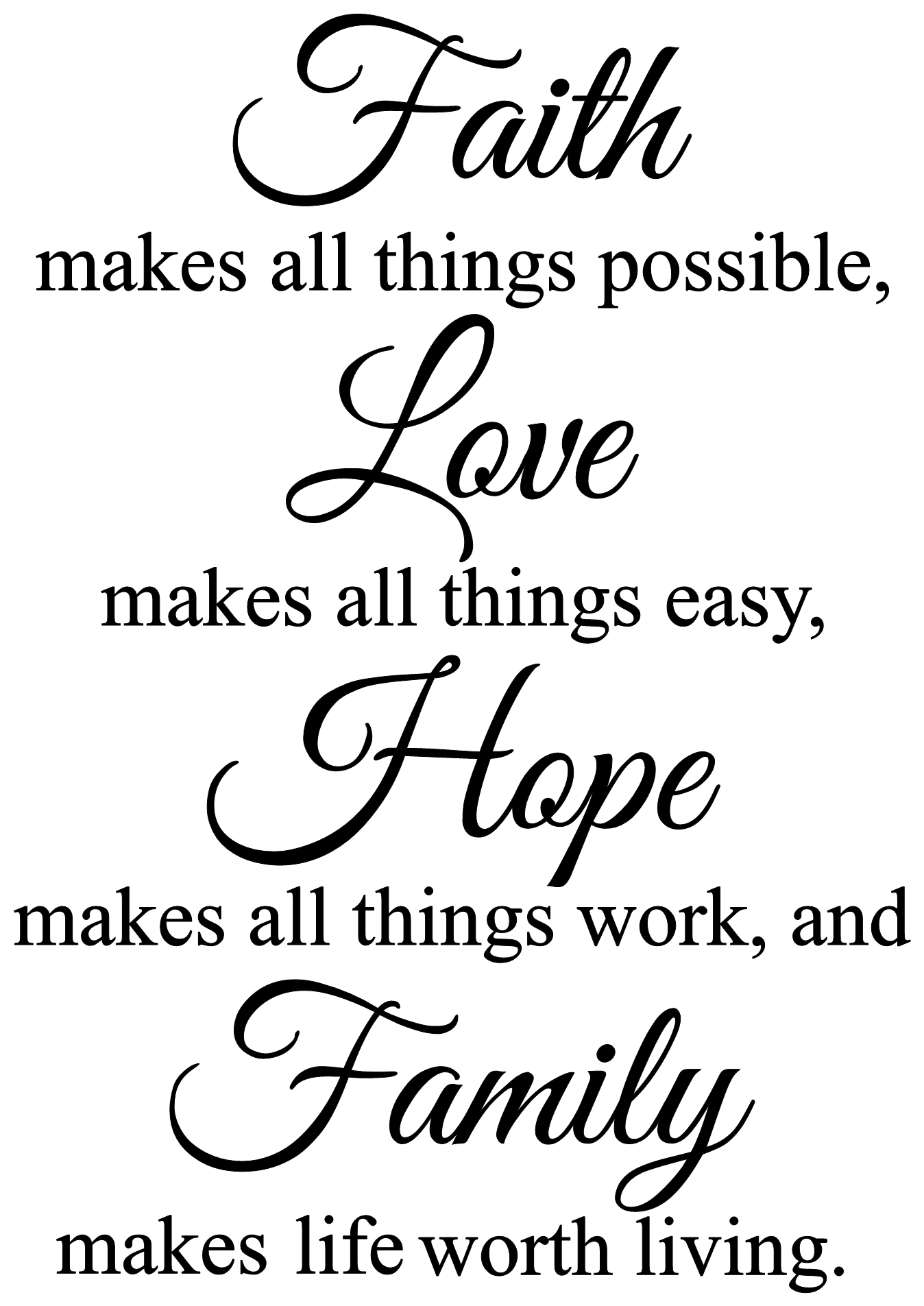 Faith Makes All Things Possible Wall Decal Religious Family Wall