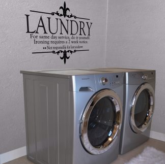 Laundry: For same day service, do it yourself Laundry Wall Lettering Wall Decal Wall Quote-L-107