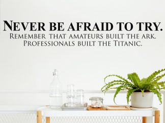 Never be Afraid to Try, Classroom Teacher School Motivation Wall Decal Vinyl Lettering Wall Quote-S103