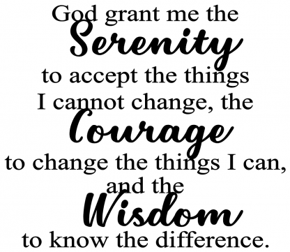 Serenity Prayer Custom Color Choice Wall Decal Vinyl Wall Lettering Wall Quote M-101