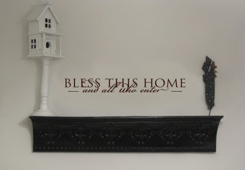 Bless This Home and All Who Enter-wall quote wall decal vinyl wall lettering-R103