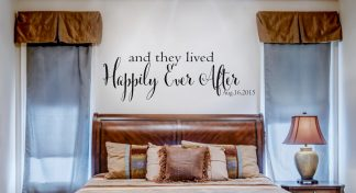 And They Lived Happily Ever After with Custom Date Decal for Walls Vinyl Words For Walls Vinyl Wall Quote-RR101