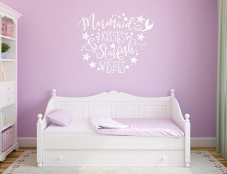 Mermaid Kisses and Starfish Wishes Wall Decal Wall Vinyl Lettering Wall Quote-C102