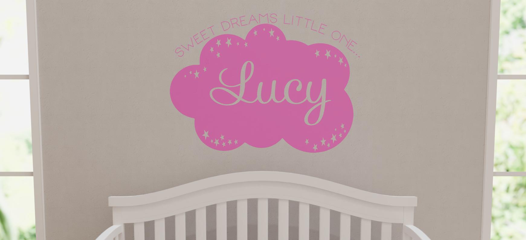 sweet dreams little one custom wall decal vinyl wall lettering custom name custom color nursery c 107