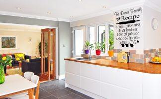 Family Recipe With Custom Name Kitchen Wall Decal Kitchen Wall Vinyl Lettering Kitchen Wall Quote-K101