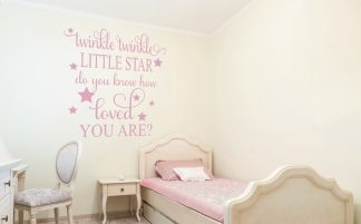 Twinkle Twinkle Little Star, do You Know how Loved You Are? Children's Wall Decal Custom Color Choice Wall Quote-C-130
